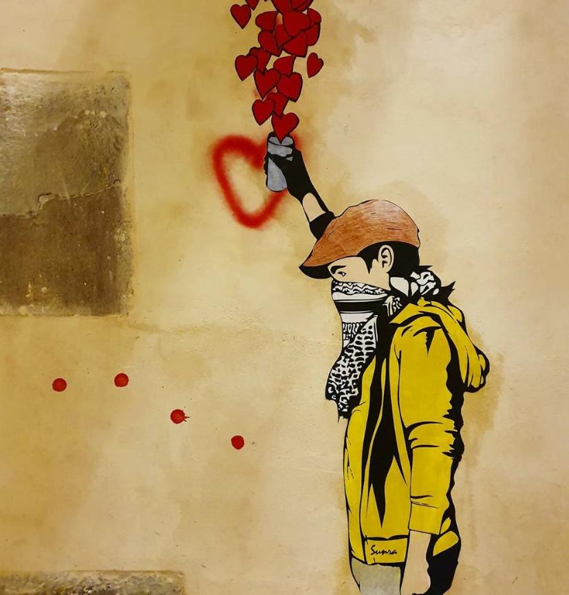 sunra street art stencil