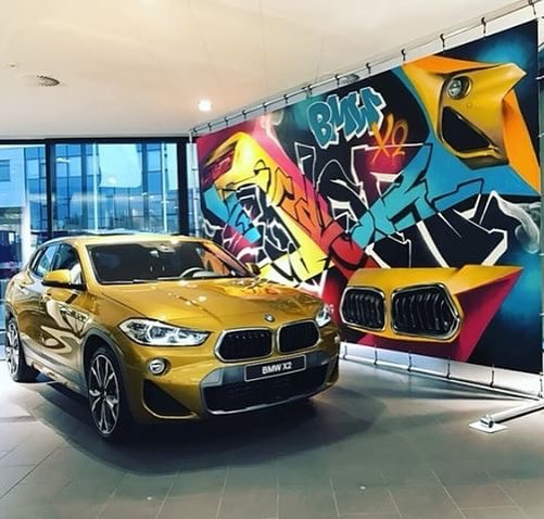 Eklor painted this graffiti backdrop BMW for Amsterdam Street Art