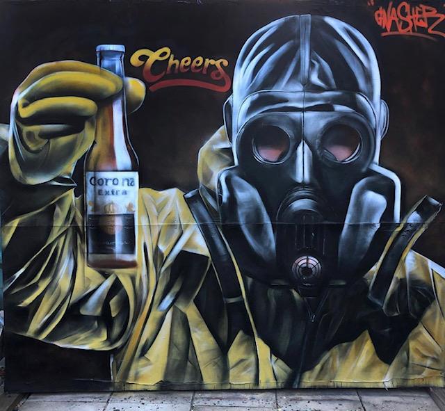 gnasher street art corona