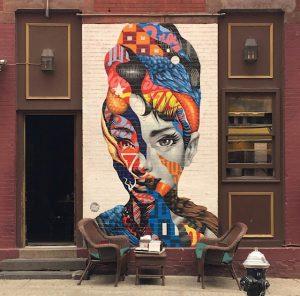 tristan eaton mural contemporary art audrey hepburn