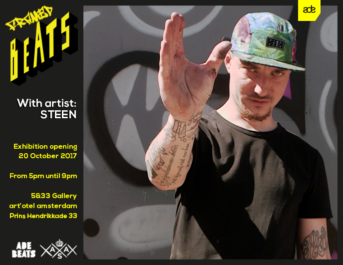 STEEN Framed Beats at 5&33 gallery by Amsterdam Street Art during Amsterdam Dance Event ADE