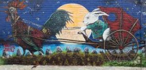 easter bunny street art chicken
